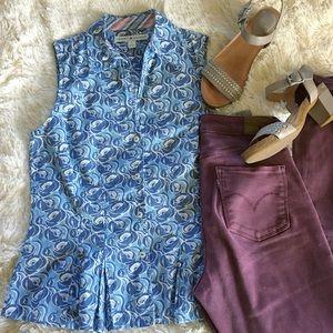 tommy hilfiger •blue peplum collared button blouse